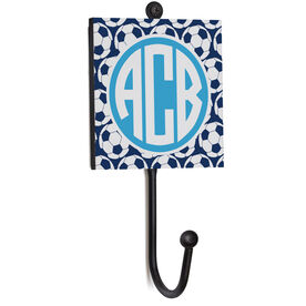Soccer Medal Hook - Monogram With Soccer Ball Pattern