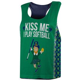 Softball Racerback Pinnie - Kiss Me I Play Softball