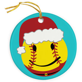 Softball Porcelain Ornament Happy Santa