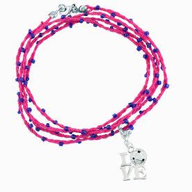 Soccer Beaded Wrap Bracelet with Love Soccer Charm