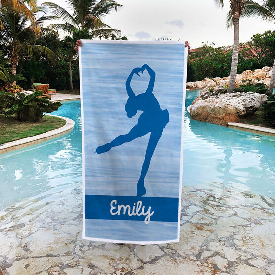 Figure Skating Premium Beach Towel - Personalized Figure Skater