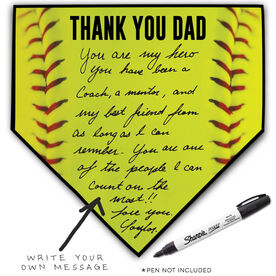 Softball Home Plate Plaque - Thank You Dad