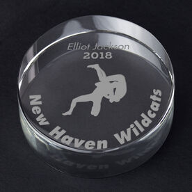 Wrestling Personalized Engraved Crystal Gift - Wrestler Silhouette with Custom Text