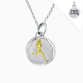 Livia Collection Sterling Silver and 14K Gold Vermeil Run Strong Token Necklace