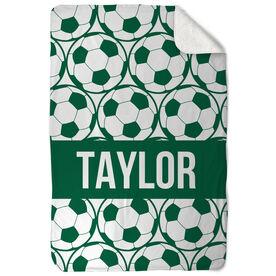Soccer Sherpa Fleece Blanket Personalized Side By Side Ball Pattern