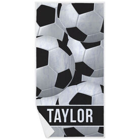 Soccer Premium Beach Towel - Personalized Ball Pattern