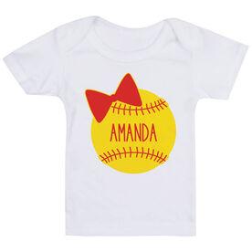 Softball Baby T-Shirt - Personalized Softball Bow
