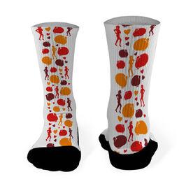 Running Printed Mid Calf Socks Runner Turkey Pattern