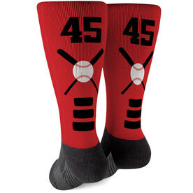 Baseball Printed Mid-Calf Socks - Bats Team Colors