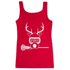 Girls Lacrosse Women's Athletic Tank Top - Lax Girl Reindeer