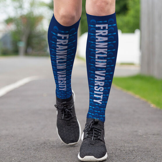 Swimming Printed Knee-High Socks - Swim Team Name