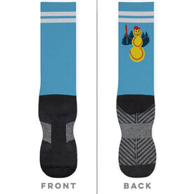 Softball Printed Mid-Calf Socks - Softball Snowman