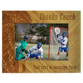 Guys Lacrosse Bamboo Engraved Picture Frame Thanks Coach