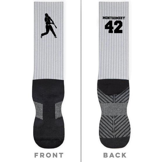 Baseball Printed Mid-Calf Socks - Pinstripes