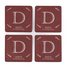 Personalized Stone Coasters Set of Four - Initial with Last Name