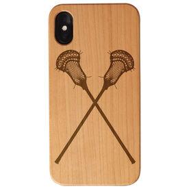 Guys Lacrosse Engraved Wood IPhone® Case - Crossed Sticks