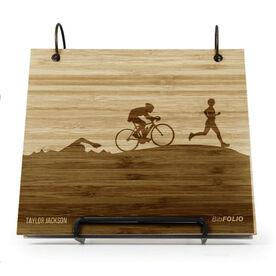 Engraved Bamboo Wood BibFOLIO Triathlon