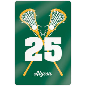 "Girls Lacrosse 18"" X 12"" Aluminum Room Sign - Personalized Crossed Girl Sticks"