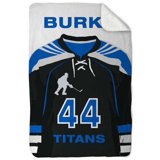 Hockey Sherpa Fleece Blanket Personalized Jersey
