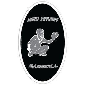 Baseball Oval Car Magnet Personalized Catcher