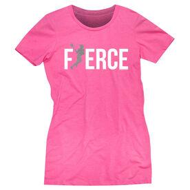 Girls Lacrosse Women's Everyday Tee - Fierce Lacrosse Girl with Silver Glitter
