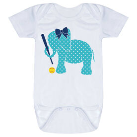 Softball Baby One-Piece - Softball Elephant with Bow