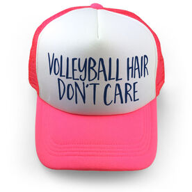 Volleyball Trucker Hat - Volleyball Hair Don't Care