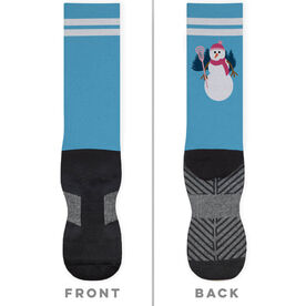 Girls Lacrosse Printed Mid-Calf Socks - Lacrosse Snowman
