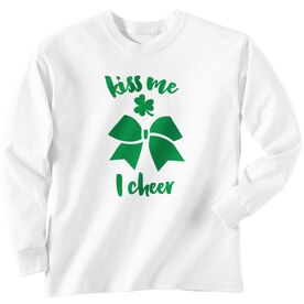 Cheer Tshirt Long Sleeve Kiss Me I Cheer