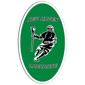 Guys Lacrosse Oval Car Magnet Personalized Dodging Player