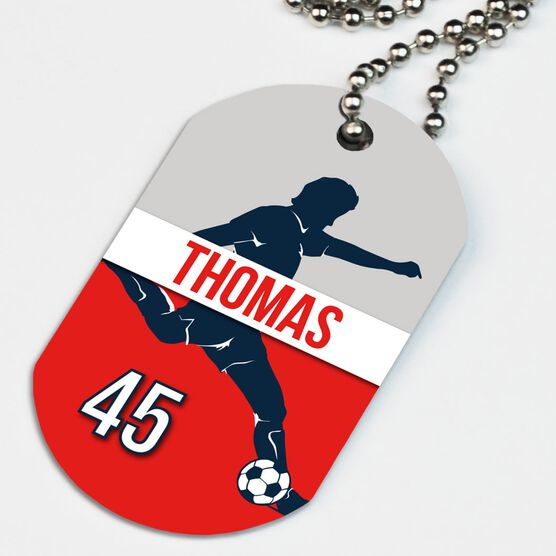 Soccer Printed Dog Tag Necklace Personalized Soccer Guy Name and Number