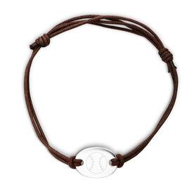 Sterling Silver Cord Bracelet Baseball Ball