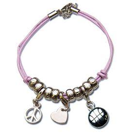 Peace. Love. Basketball Silver Charm Bracelet