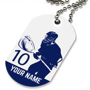 Lacrosse Printed Dog Tag Necklace Personalized Lacrosse Goalie