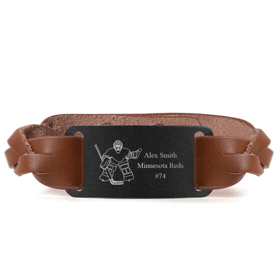 Hockey Leather Bracelet with Engraved Plate - Personalized Goalie