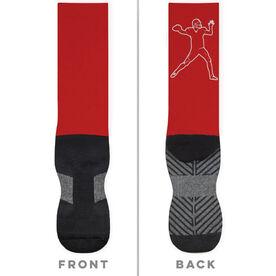 Football Printed Mid-Calf Socks - Quarterback