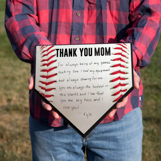 Baseball Home Plate Plaque - Thank You Mom