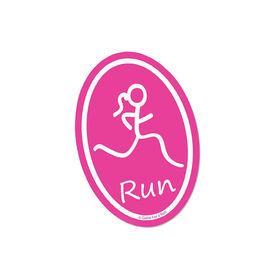 Run Girl Pink Mini Car Magnet - Fun Size
