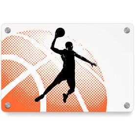 Basketball Metal Wall Art Panel - Halftone Sunrise