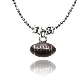 Sterling Silver Square Number Bead & Football Necklace
