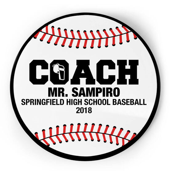 Baseball Circle Plaque - Coach With 3 Lines