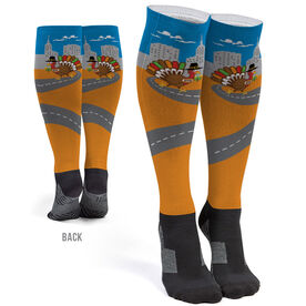 Running Printed Knee-High Socks - Turkey Trot