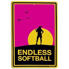 "Endless Softball Aluminum Room Sign (18"" X 12"")"
