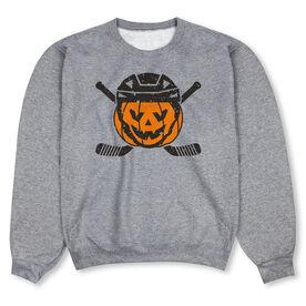 Hockey Crew Neck Sweatshirt - Helmet Pumpkin