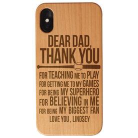Softball Engraved Wood IPhone® Case - Dear Dad