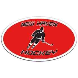 Hockey Oval Car Magnet Personalized Slanted Skater