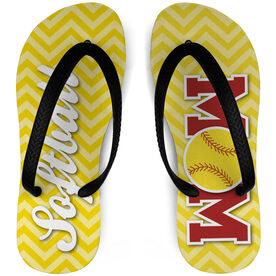 Softball Flip Flops Mom