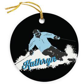 Skiing Porcelain Ornament Ski Hard