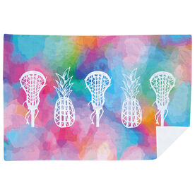 Girls Lacrosse Premium Blanket - Lax Pineapples with Tie-Dye