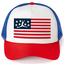 Figure Skating Trucker Hat - American Flag